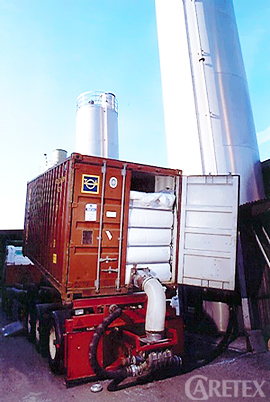 Container with unloading system