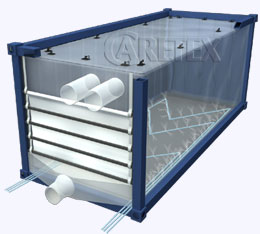 Fluidizing discharge system for container liners